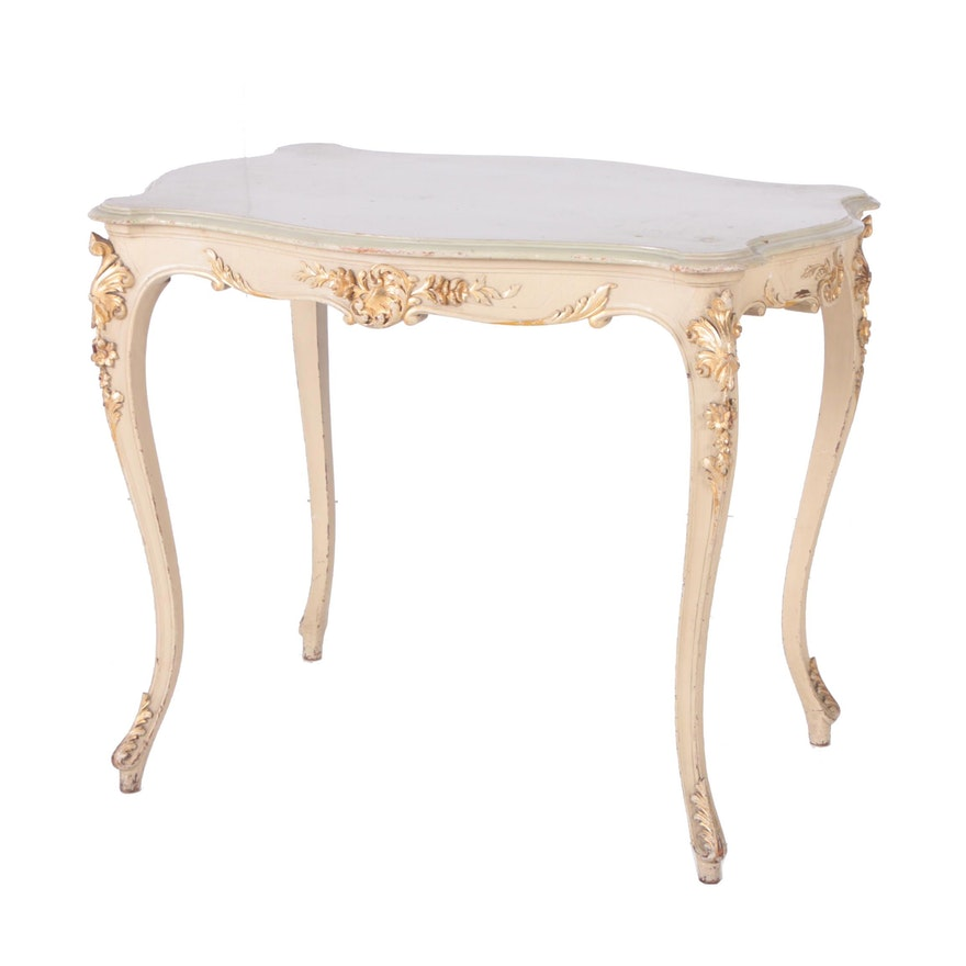 Rococo Style Cream And Gold Painted Side Table EBTH - Rococo side table