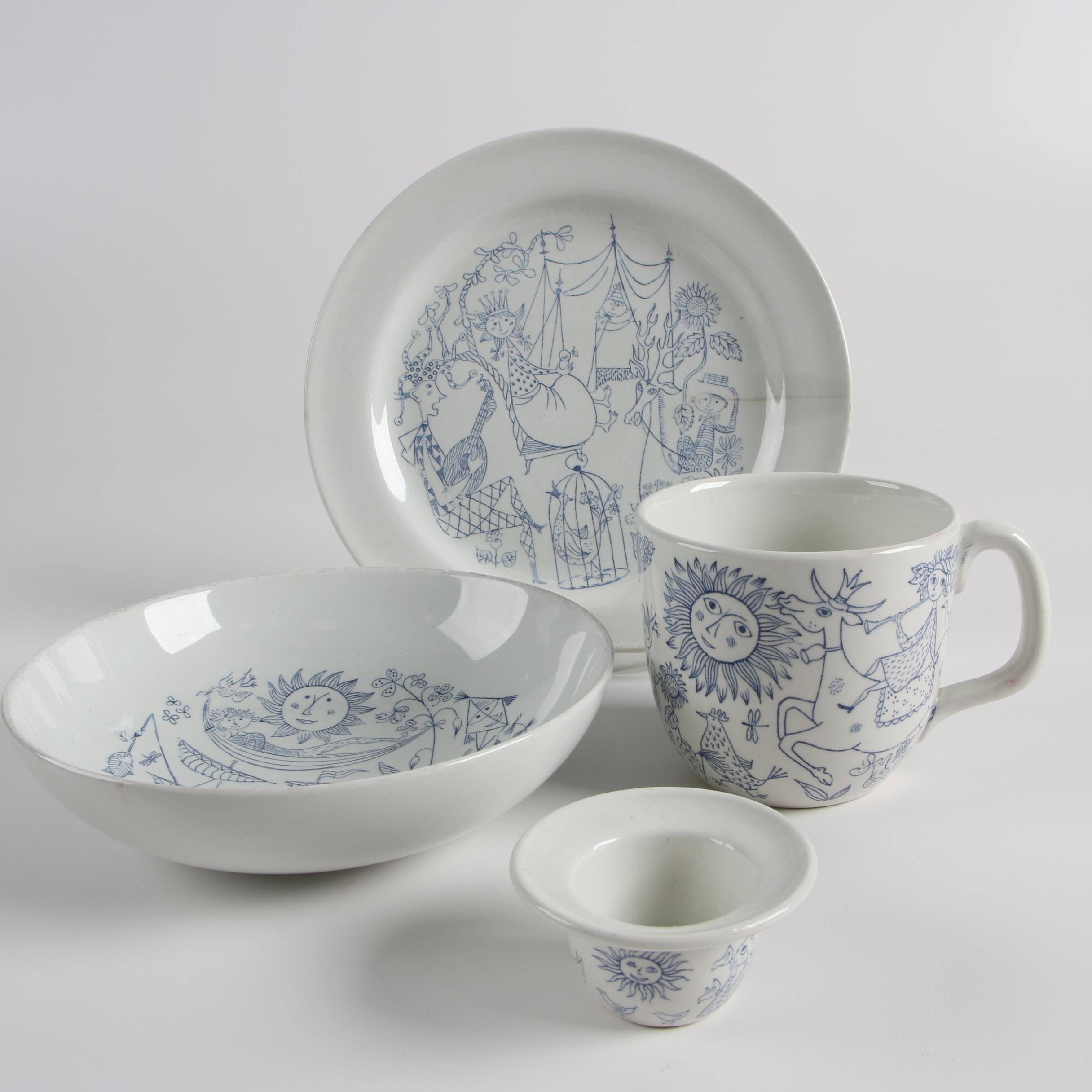 "1950s Stig Lindberg for Gustavsberg ""Sagoland"" Stoneware Dinnerware"