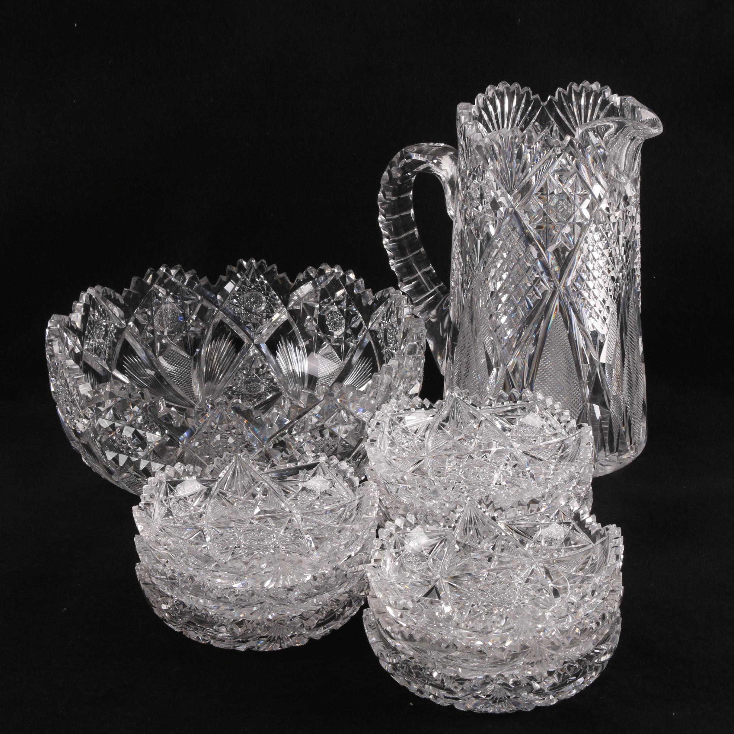 Vintage Cut Glass Tableware Including Hawkes