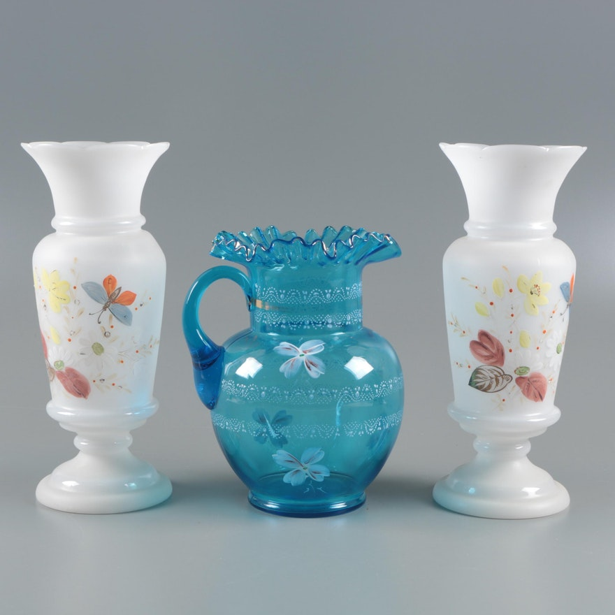 Pair Of Bohemian Painted Glass Vases And A Painted Blue Glass Jug Ebth