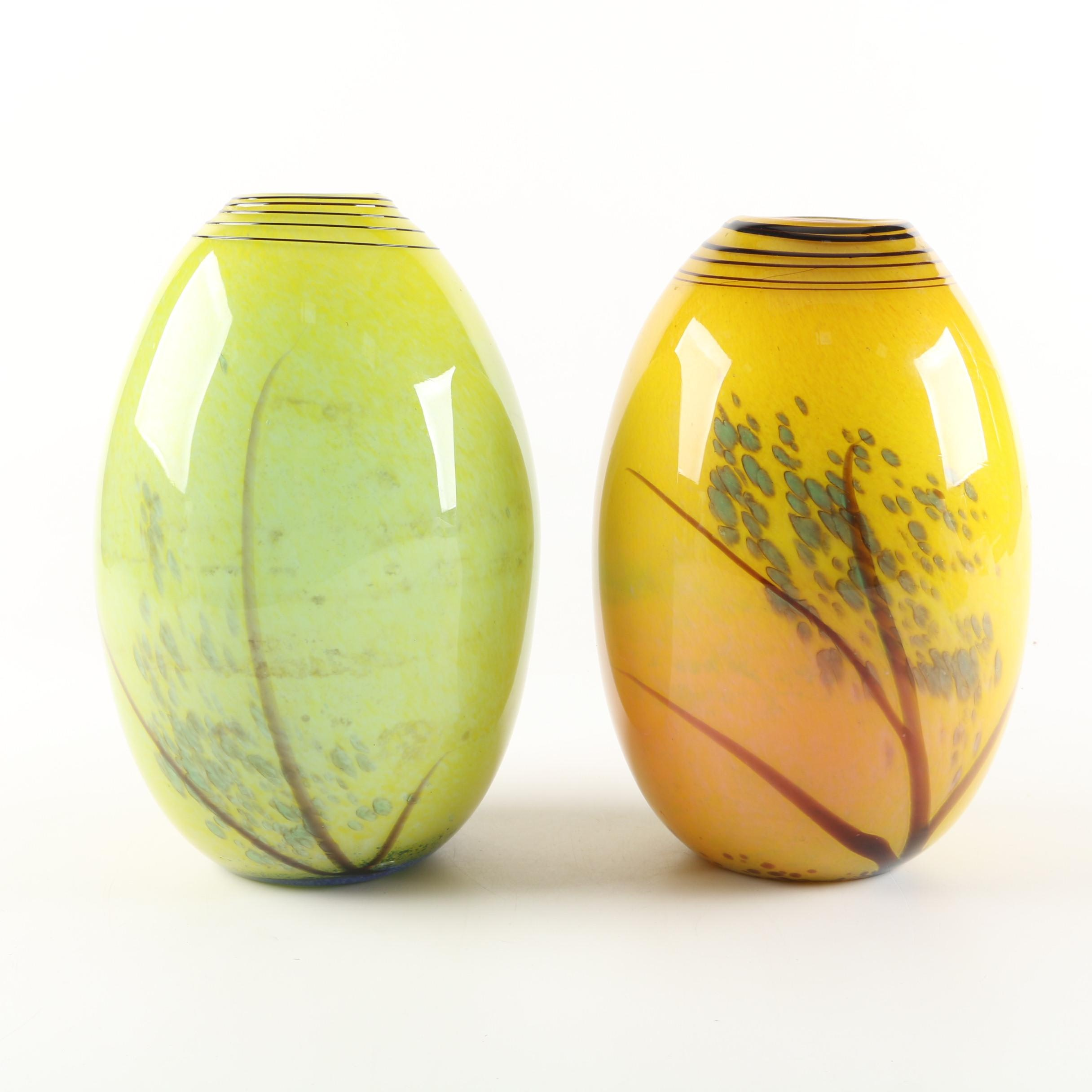 Murano Style Art Glass Vases with Foliate Motif