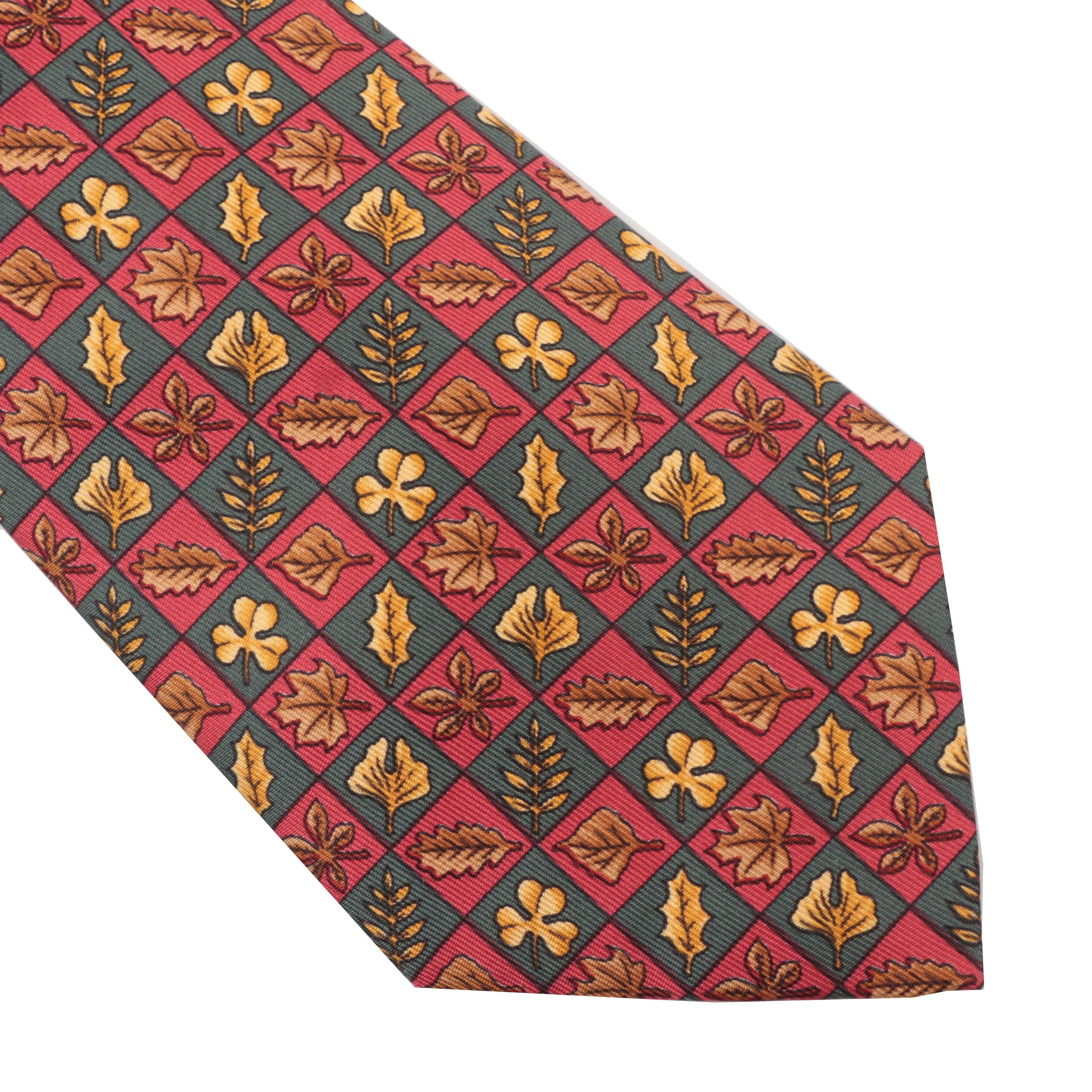 Hermès Leaf Silk Necktie, Pattern  7724 OA, Made in France