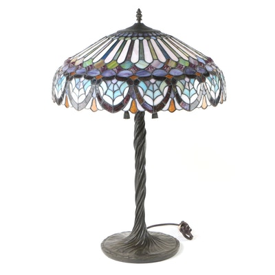 Quoizel Collectibles Leaded Glass and Patinated Metal Table Lamp