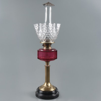 Victorian Cranberry Glass and Brass Kerosene Table Lamp and Shade, 19th Century