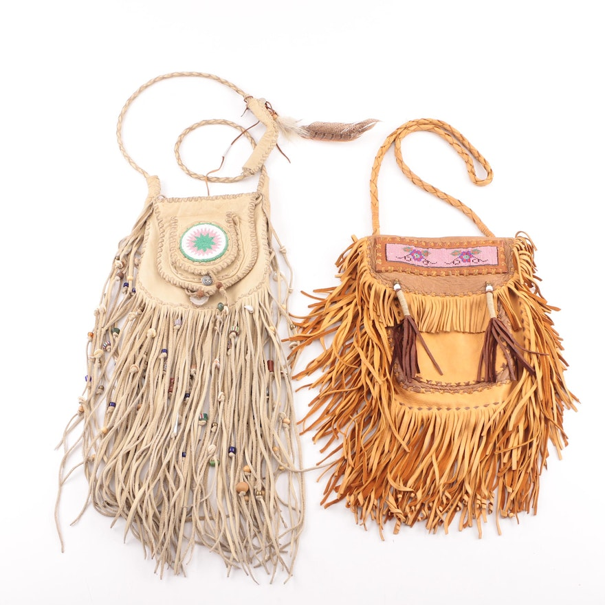 Southwestern Style Hand Beaded Leather Pouch Handbags With Fringe