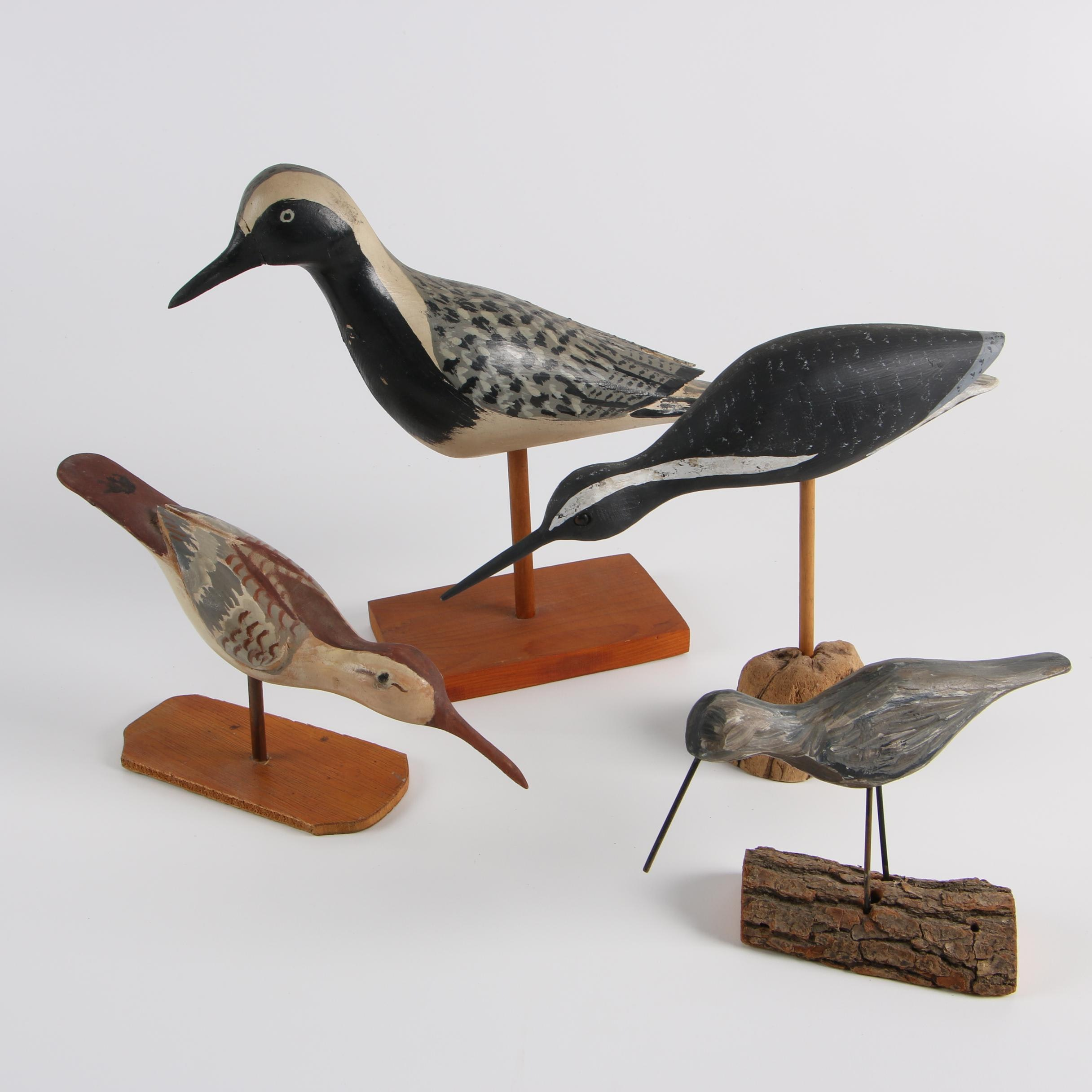 Four Painted Wood Shorebird Decoys Including Jay Parker