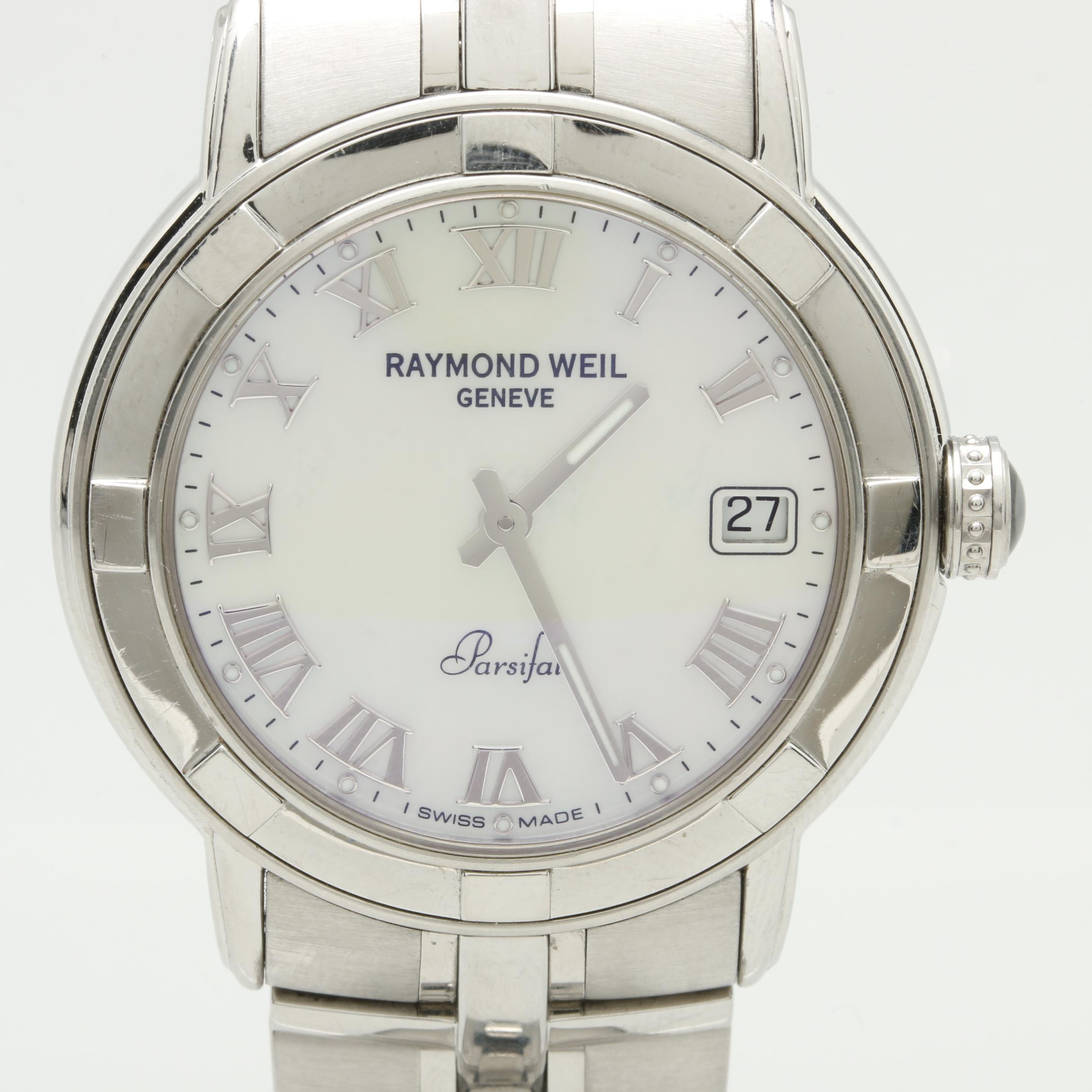 Raymond Weil Stainless Steel Mother of Pearl and Synthetic Sapphire Wristwatch