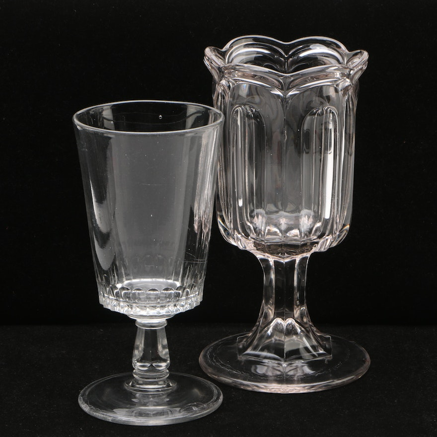 Two American Molded Glass Celery Vases 19th Century Ebth