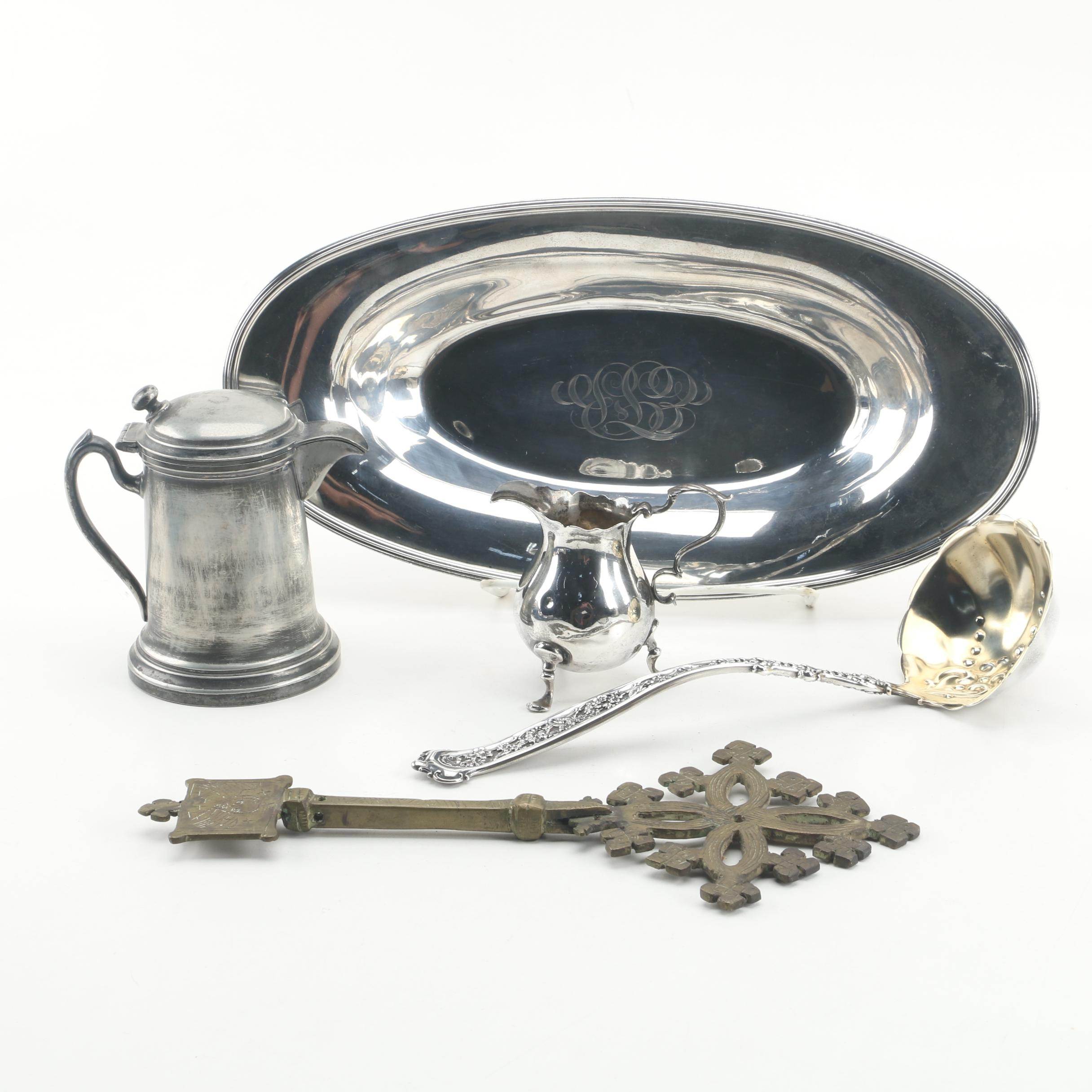 """Whiting """"Dresden"""" Sterling Ladle with Other Sterling and Silver Plate Tableware"""