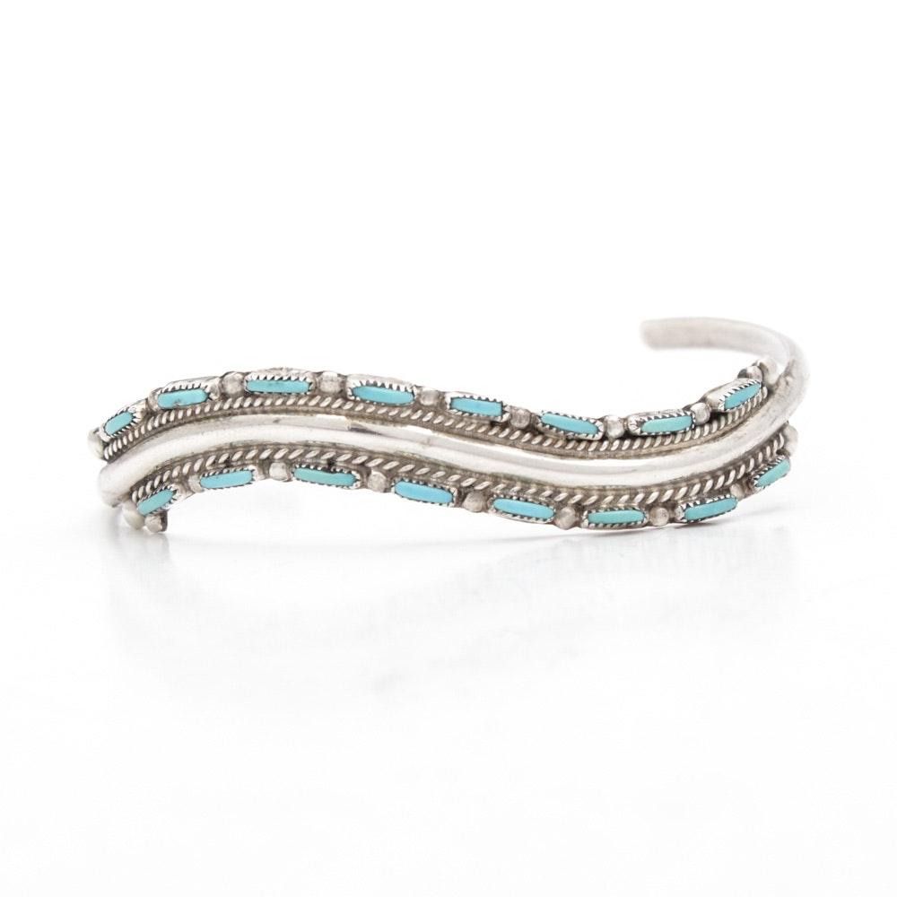 Veronica Yawakia Zuni Sterling Silver Turquoise Cuff Bracelet