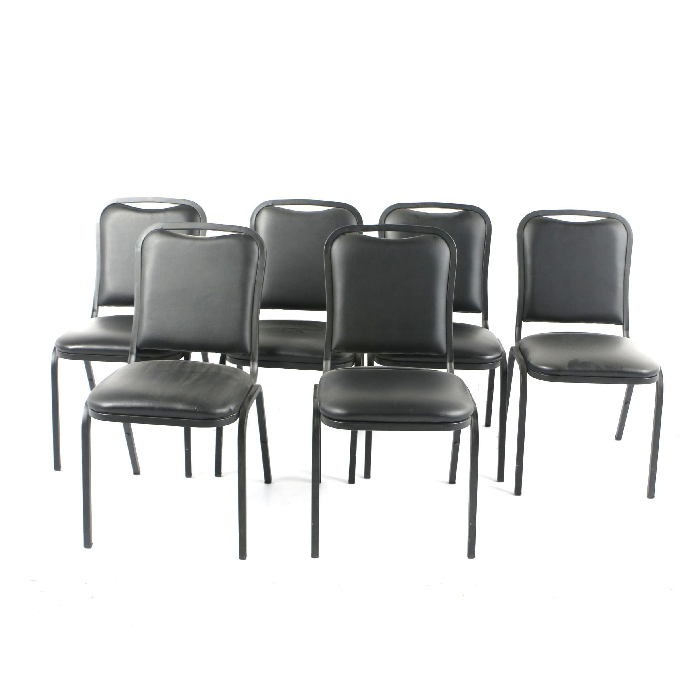 Six Stackable Black Metal And Vinyl Chairs ...