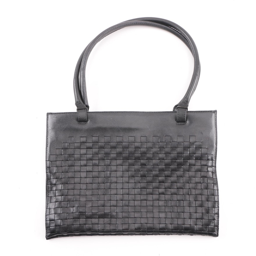 Bottega Veneta Black Intrecciato Leather Shoulder Bag   EBTH 47e22866dc19e