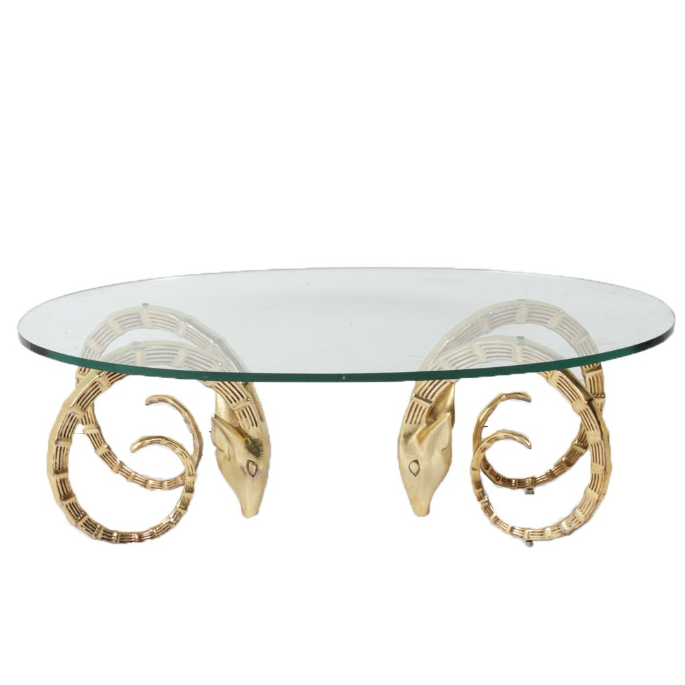 Contemporary Figural Brass and Glass Coffee Table