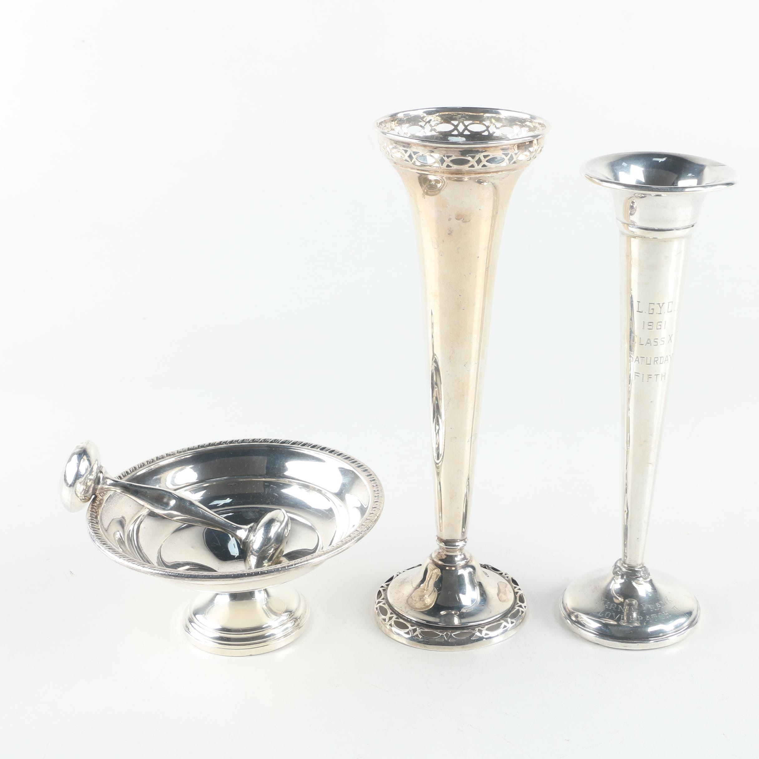Reed & Barton and Preisner Weighted Sterling Vases with Other Sterling Decor