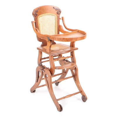 Victorian Oak Adjustable Child's Highchair, Late 19th Century