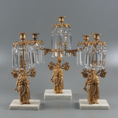 American Gilt Brass and Glass Prism Girandoles on Marble Bases