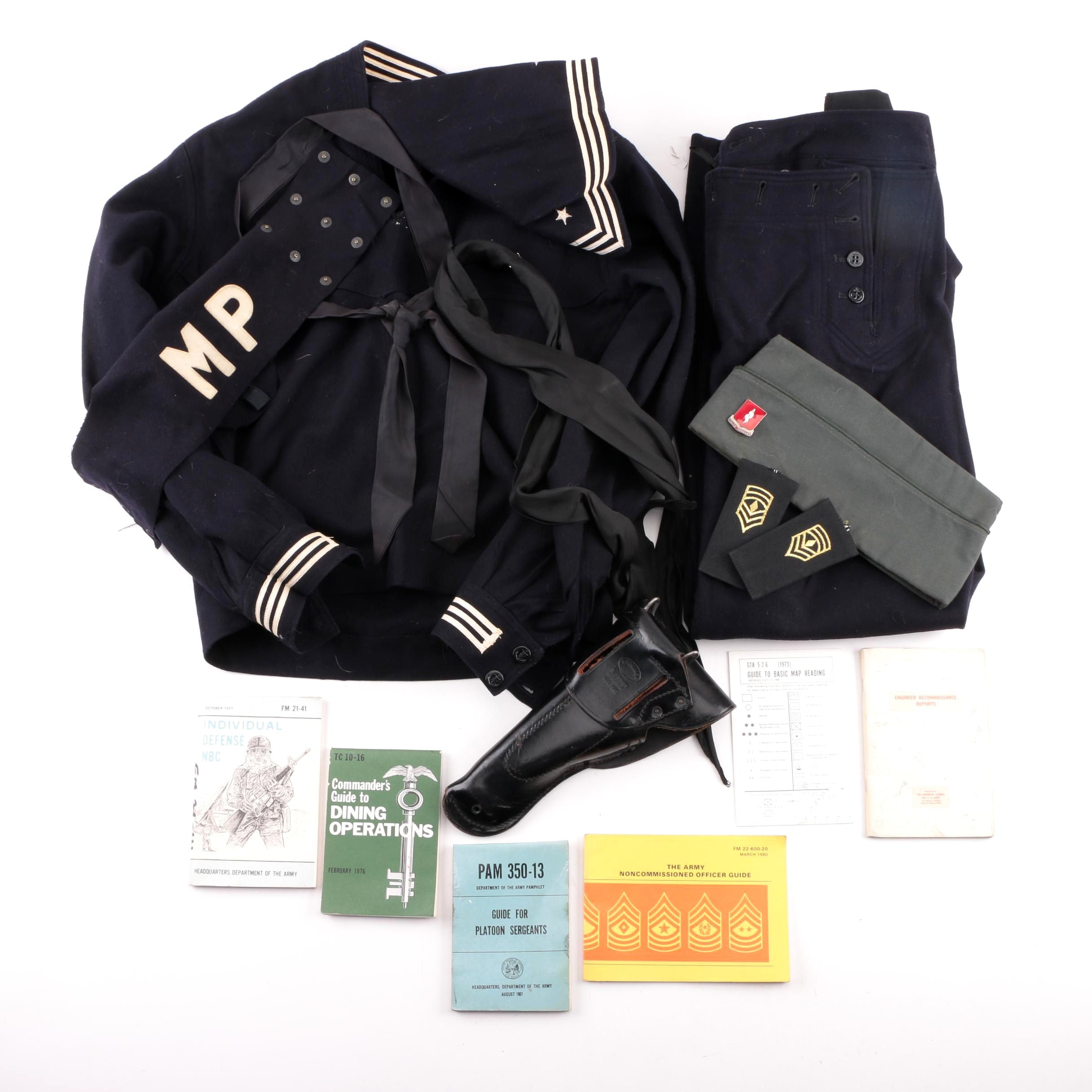 Vintage U.S.S. Molala Navy Uniform with Leather Holster and Other Accessories