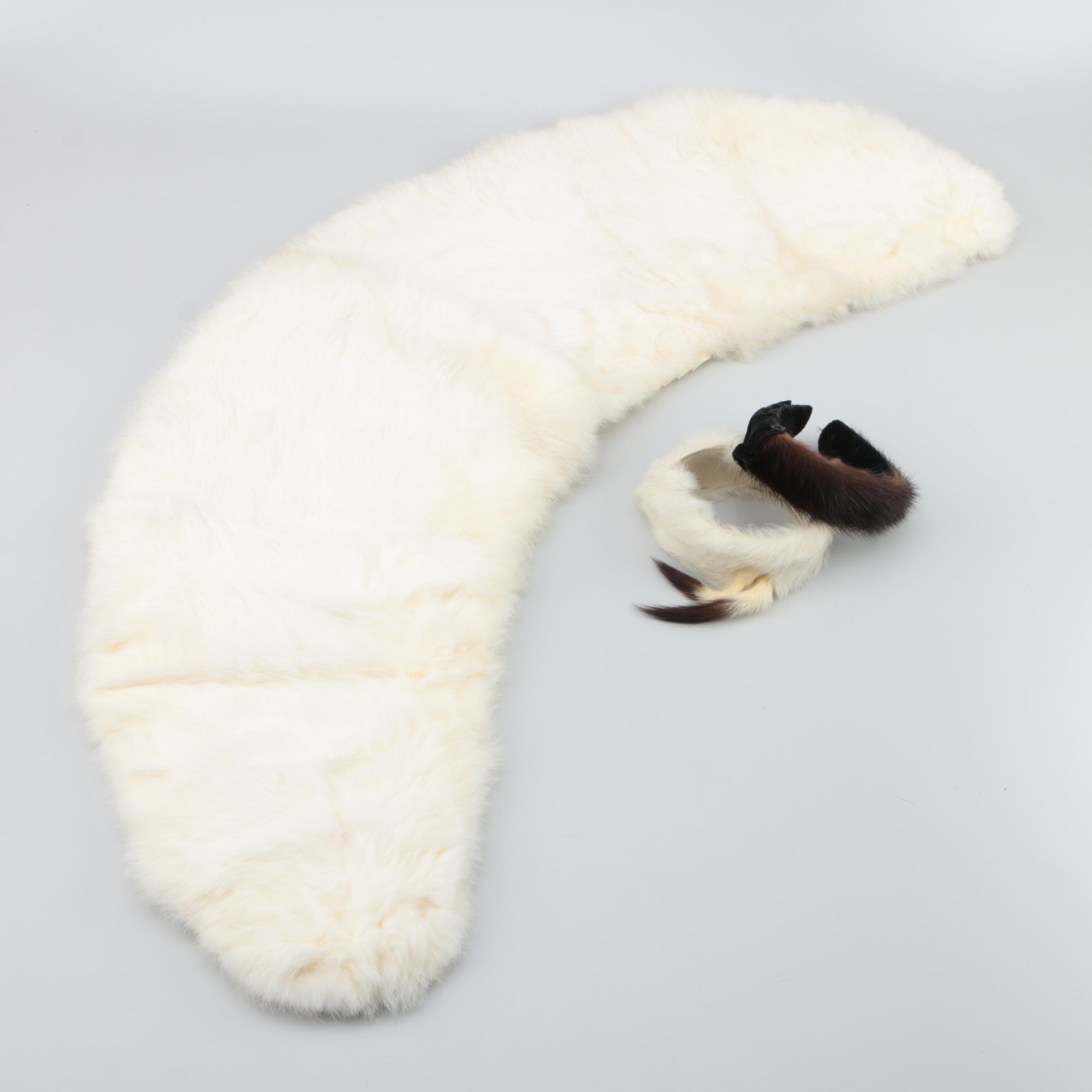 Rabbit Fur Stole with Girls' Mink Fur and Rabbit Fur Headbands