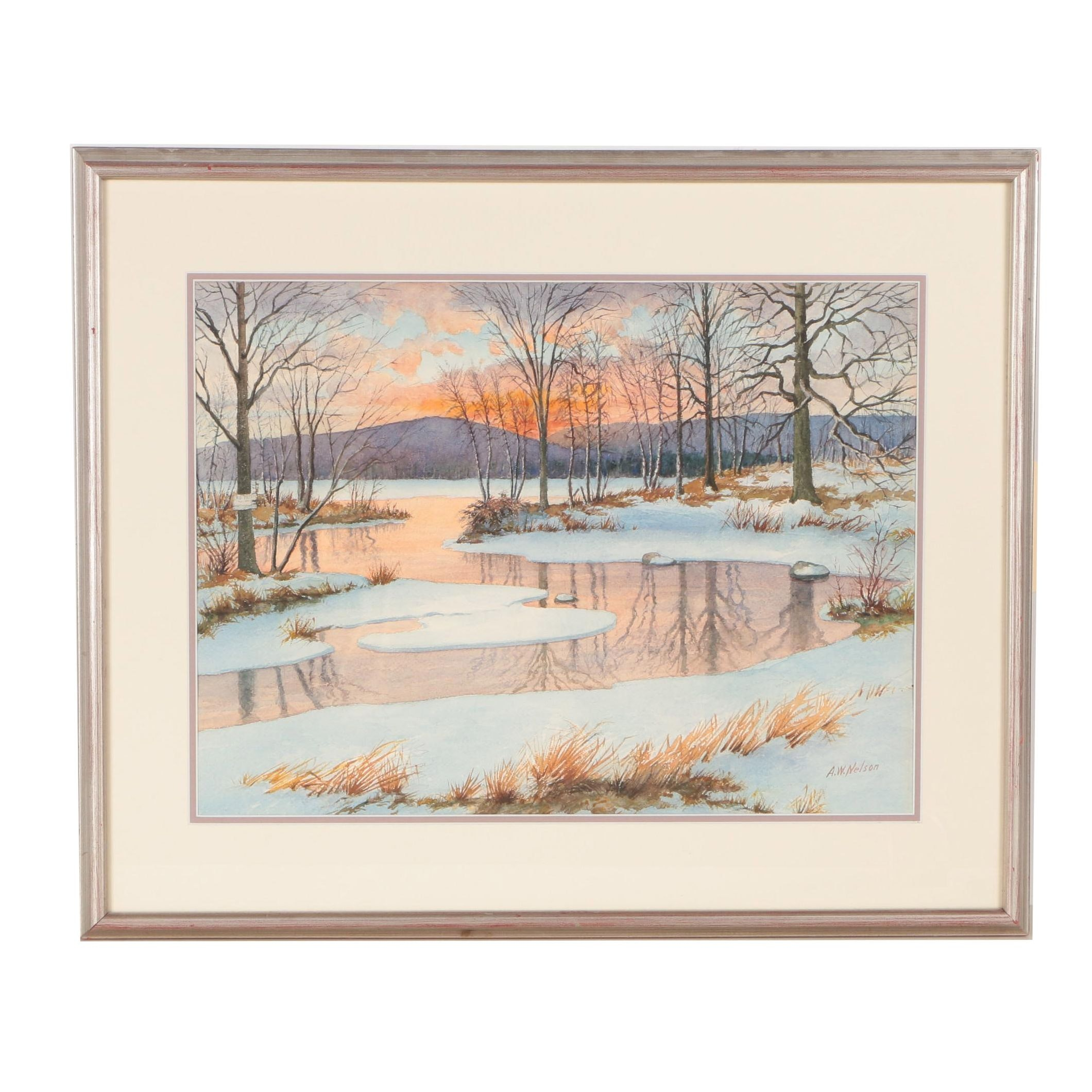 A.W. Nelson Landscape Watercolor Painting