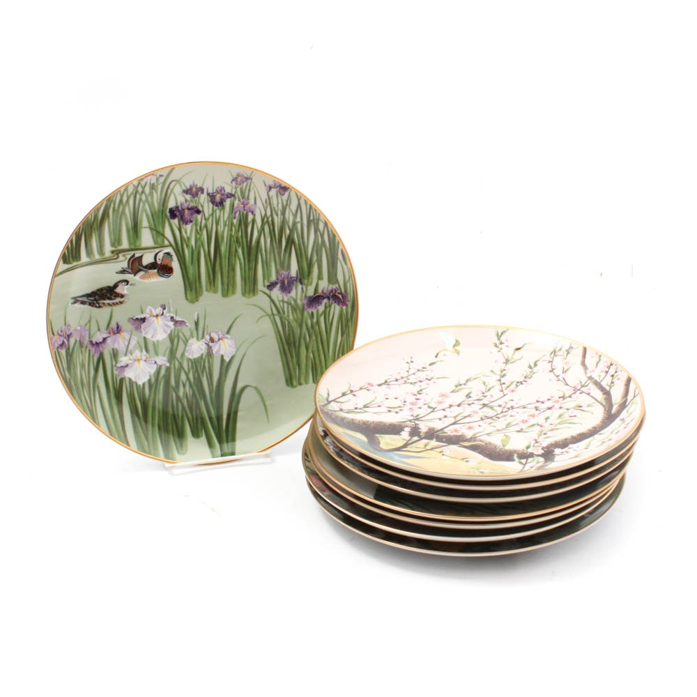"""1979 Franklin """"Birds and Flowers of the Orient"""" Collector Plates"""