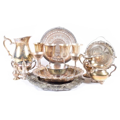 Large Collection of Plated Silver Serveware