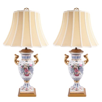 Hand-Painted Ceramic Enameled Urn Form Lamps