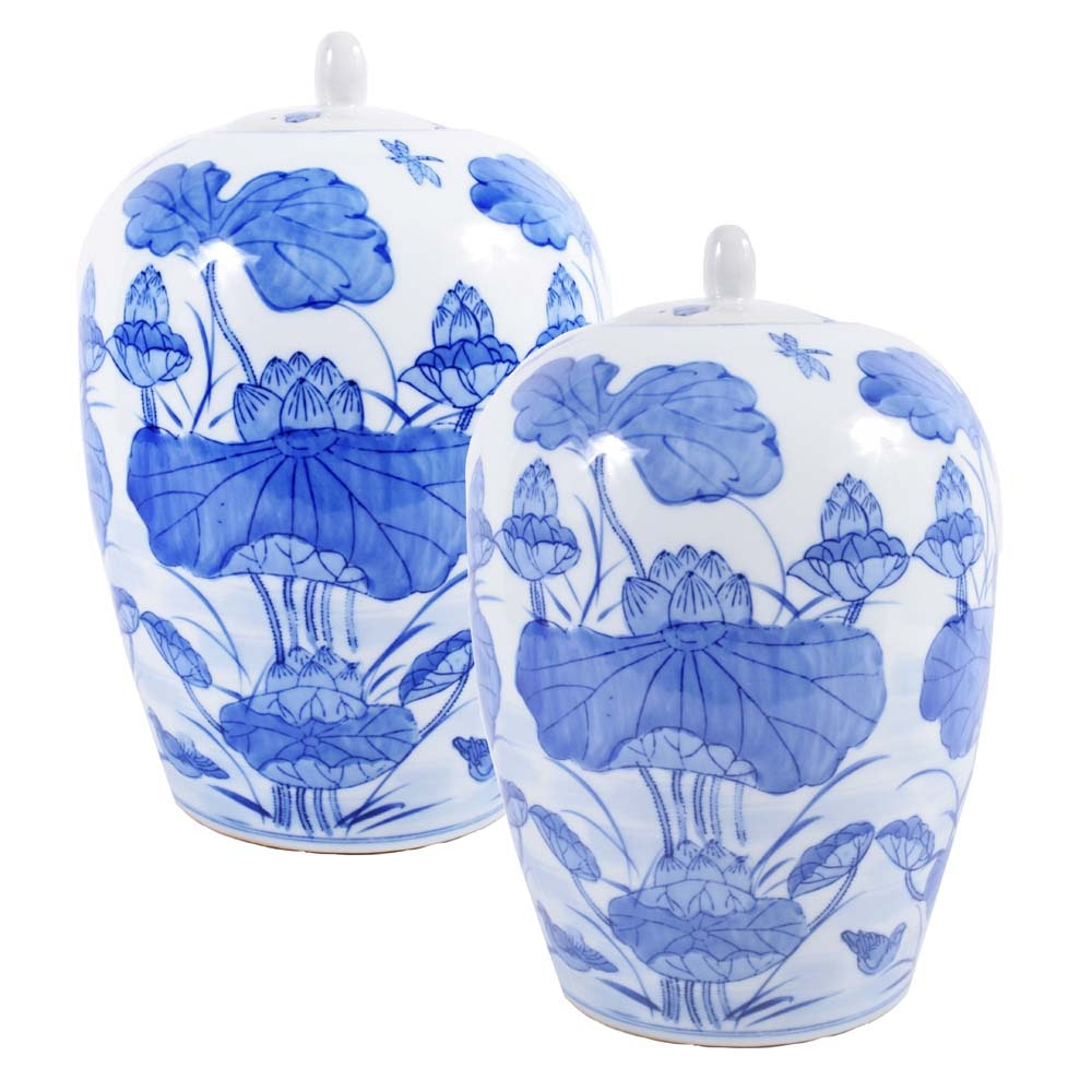 Chinese Lotus Motif Ceramic Ginger Jars