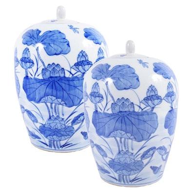 Chinese Lotus Motif Ceramic Ginger Jars