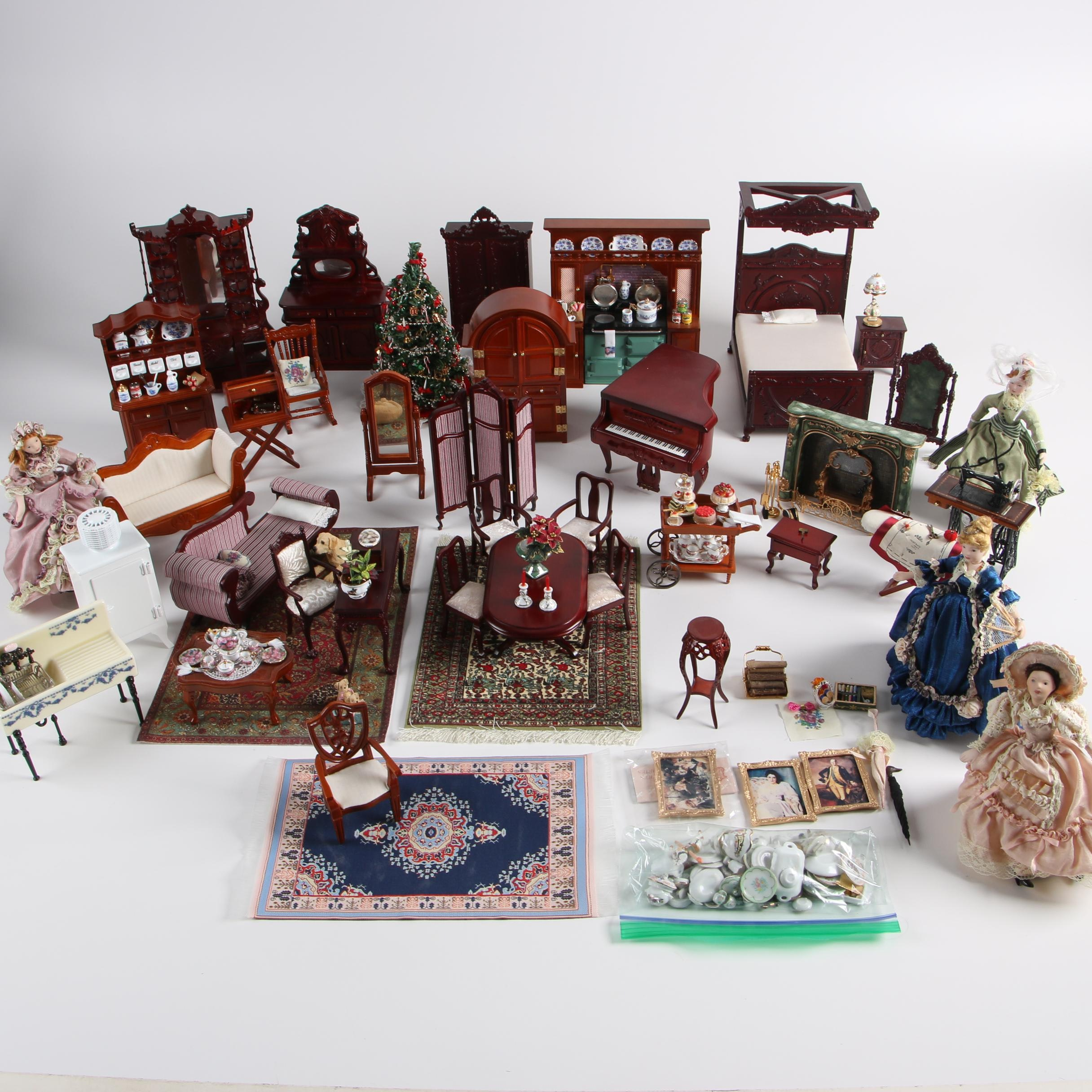 Vintage Dollhouse Furniture With Miniature Victorian Style Porcelain