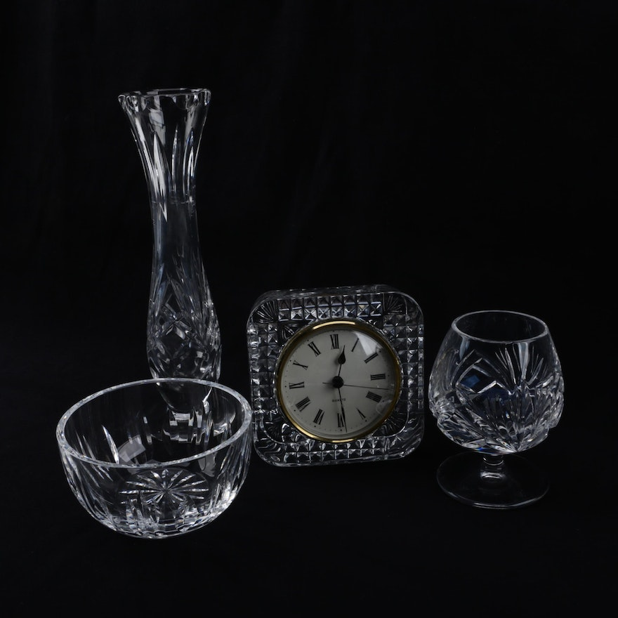 Gorham Crystal Vase And Brandy Snifter And Waterford Crystal Bowl