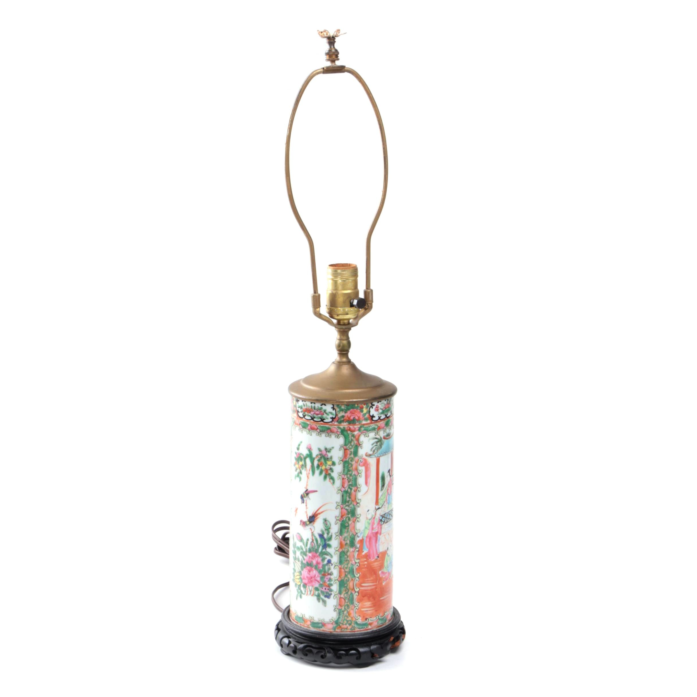"Chinese ""Rose Medallion"" Ceramic Lamp"
