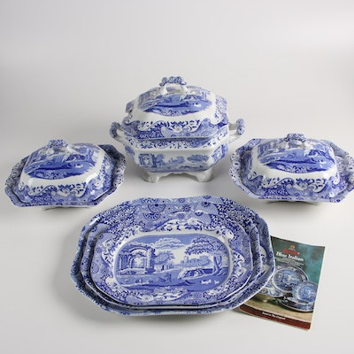 "Spode Porcelain Dinnerware in the ""Blue Italian"" Pattern"