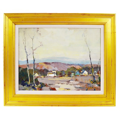 Chauncey Foster Ryder Oil Painting of Village Landscape