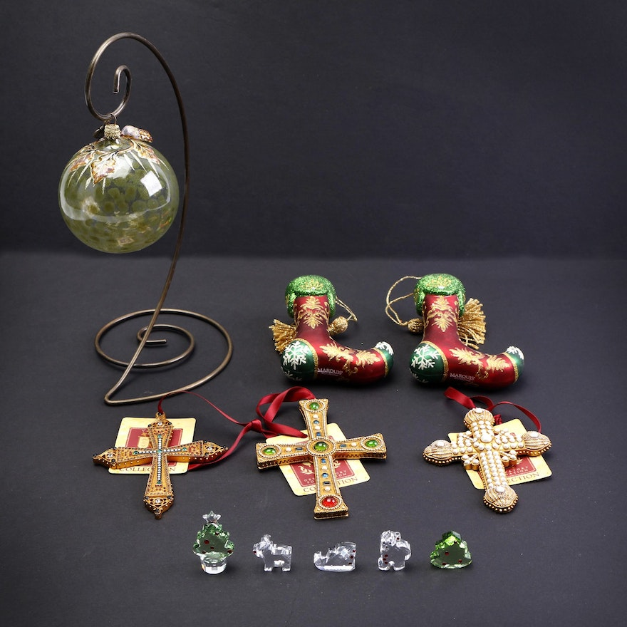 Waterford And Jay Strongwater Christmas Ornaments With Swarovski Crystal Figures