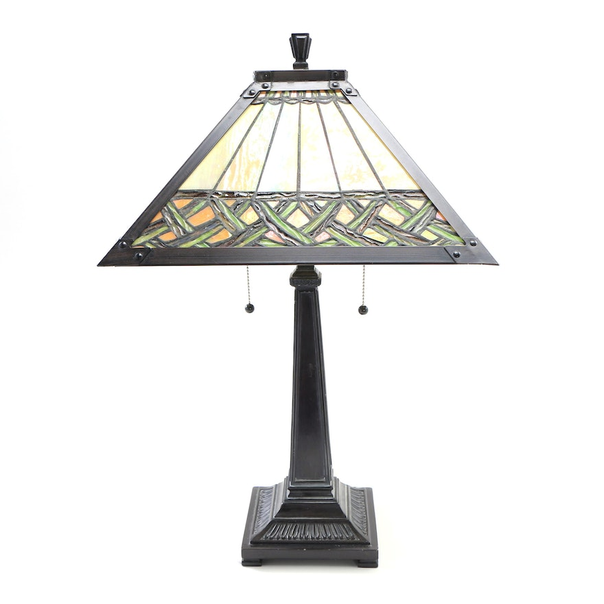 Contemporary Arts and Crafts Style Table Lamp with Slag Glass Shade