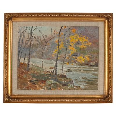 Edmond J. Fitzgerald Oil Painting of Autumn Landscape