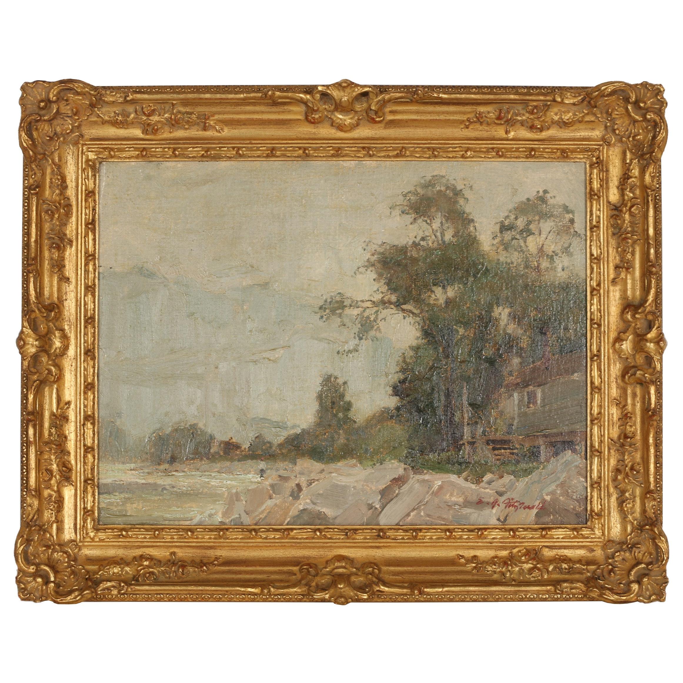 Edmond J. Fitzgerald Oil Painting of Shoreline