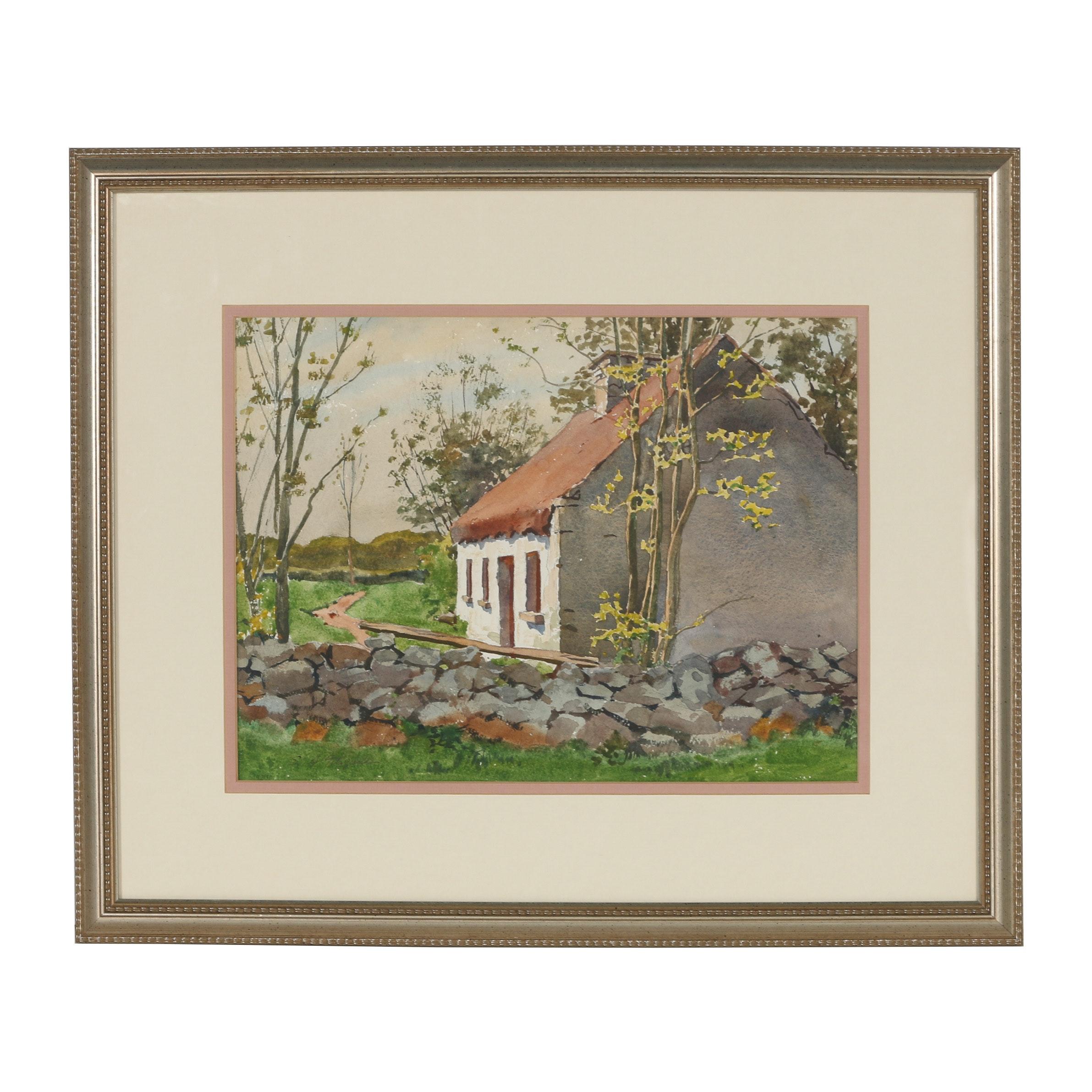 Edmond J. Fitzgerald Watercolor Painting