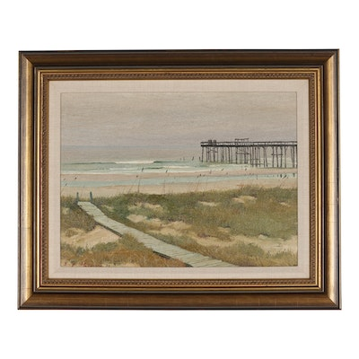 "Edmond J. Fitzgerald Oil Painting ""The Pier"""
