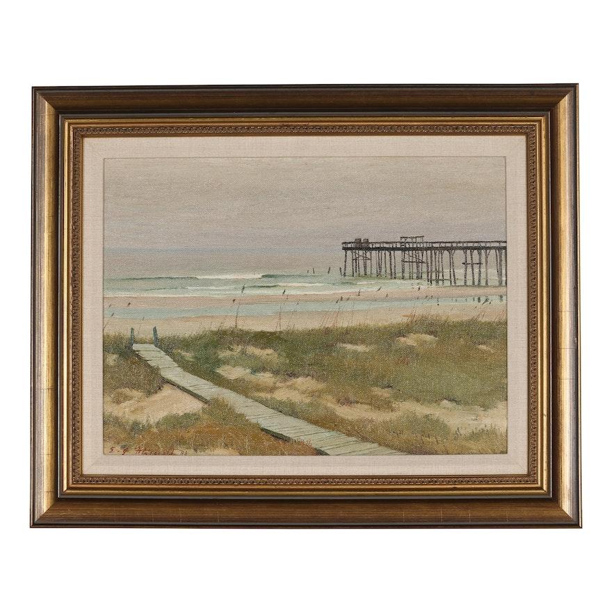 "Edmond J. Fitzgerald Oil Painting ""The Pier"""