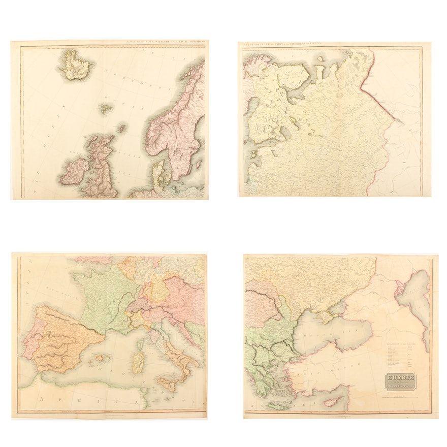 1816 Map Of Europe After The Congress Of Vienna Ebth