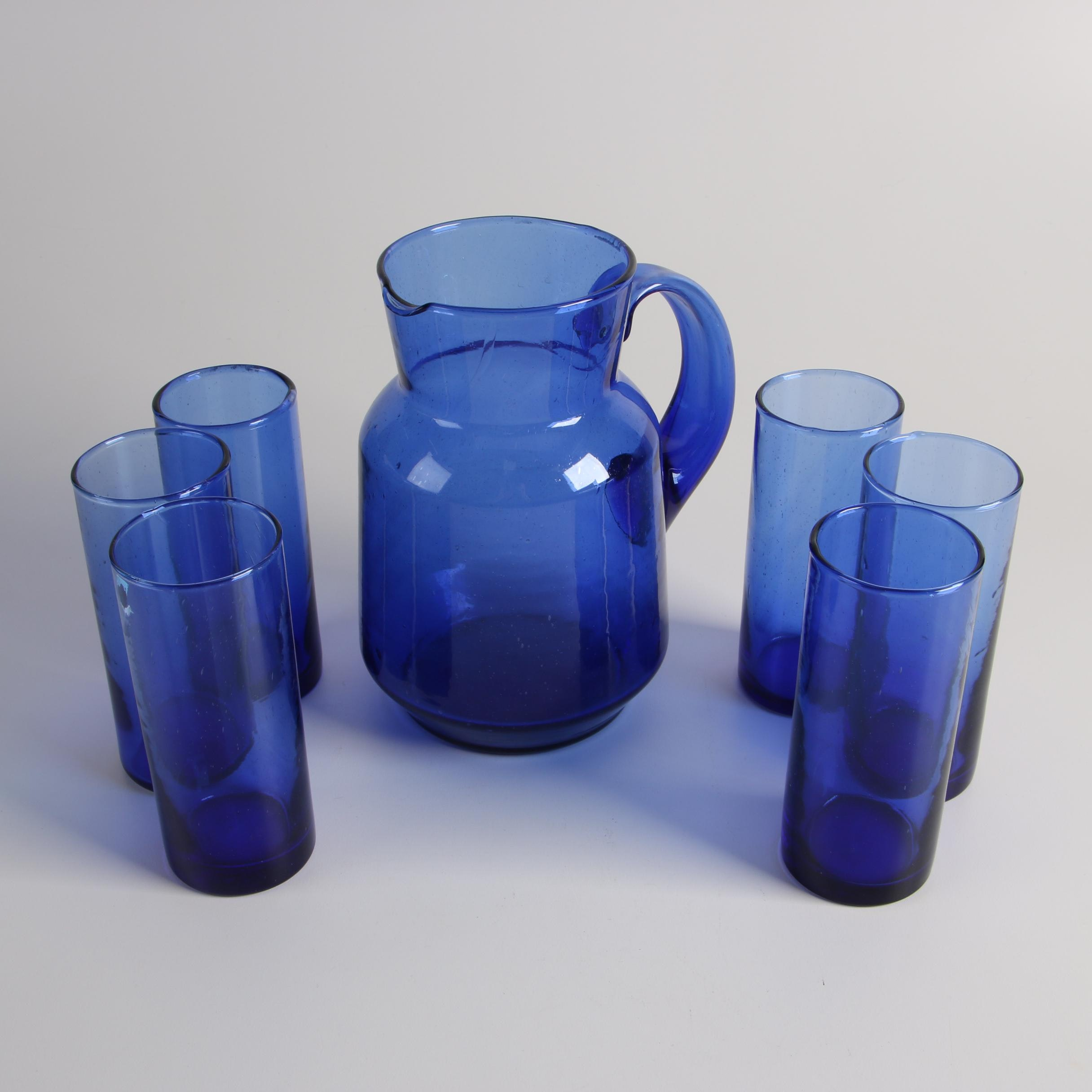Cobalt Blue Pitcher and Water Glasses