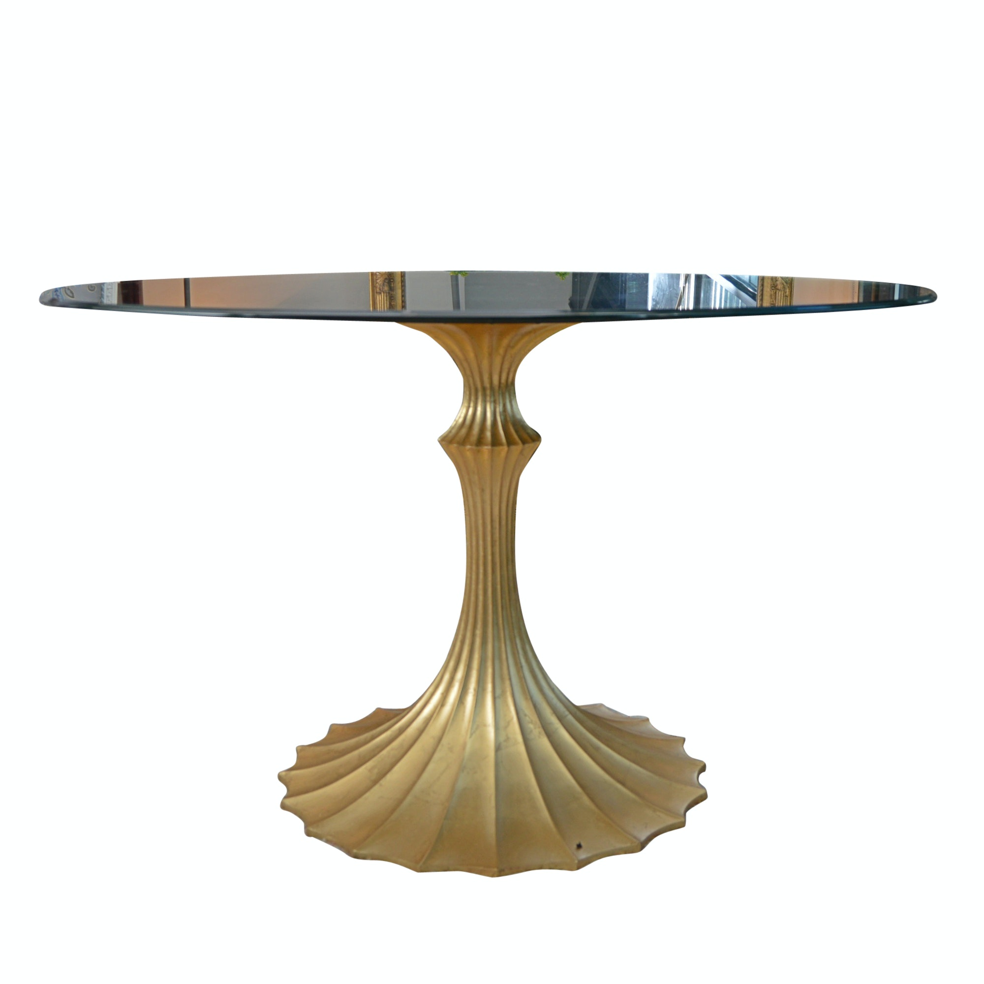 Hollywood Regency Style Glass Top Dining Table