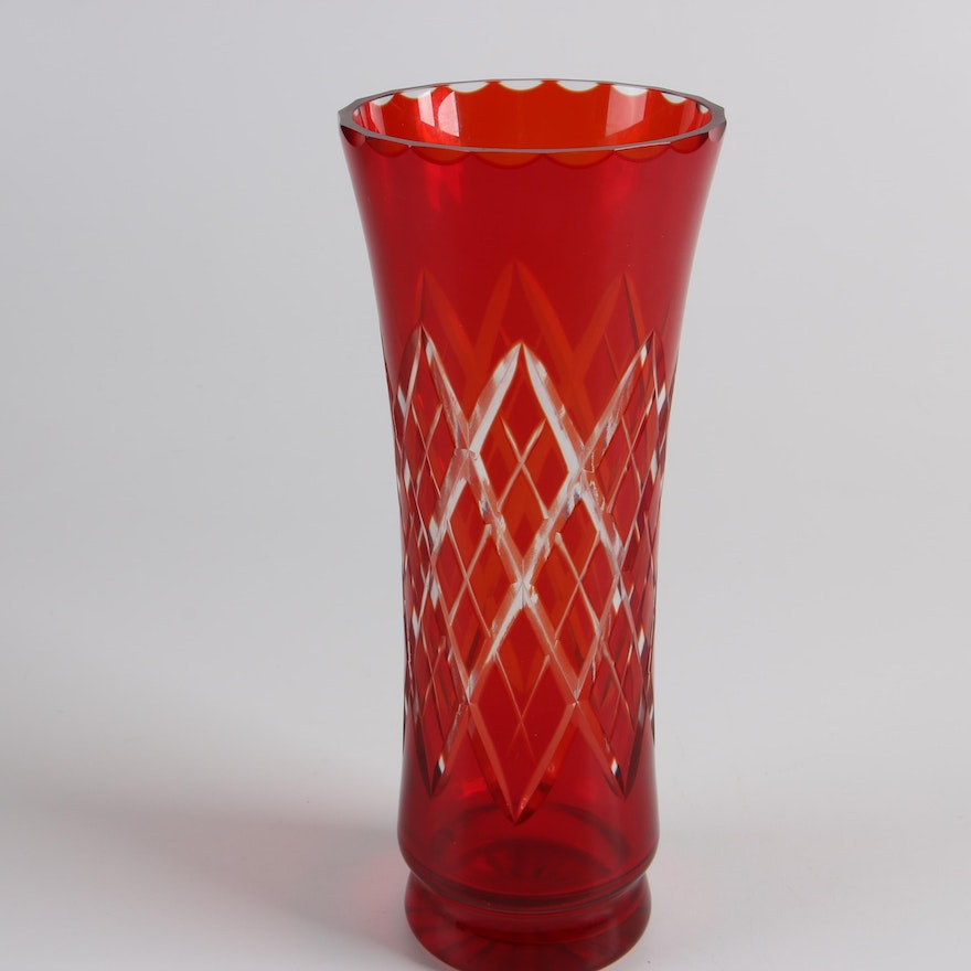 Vintage Bohemian Cut To Clear Red Crystal Vase Ebth