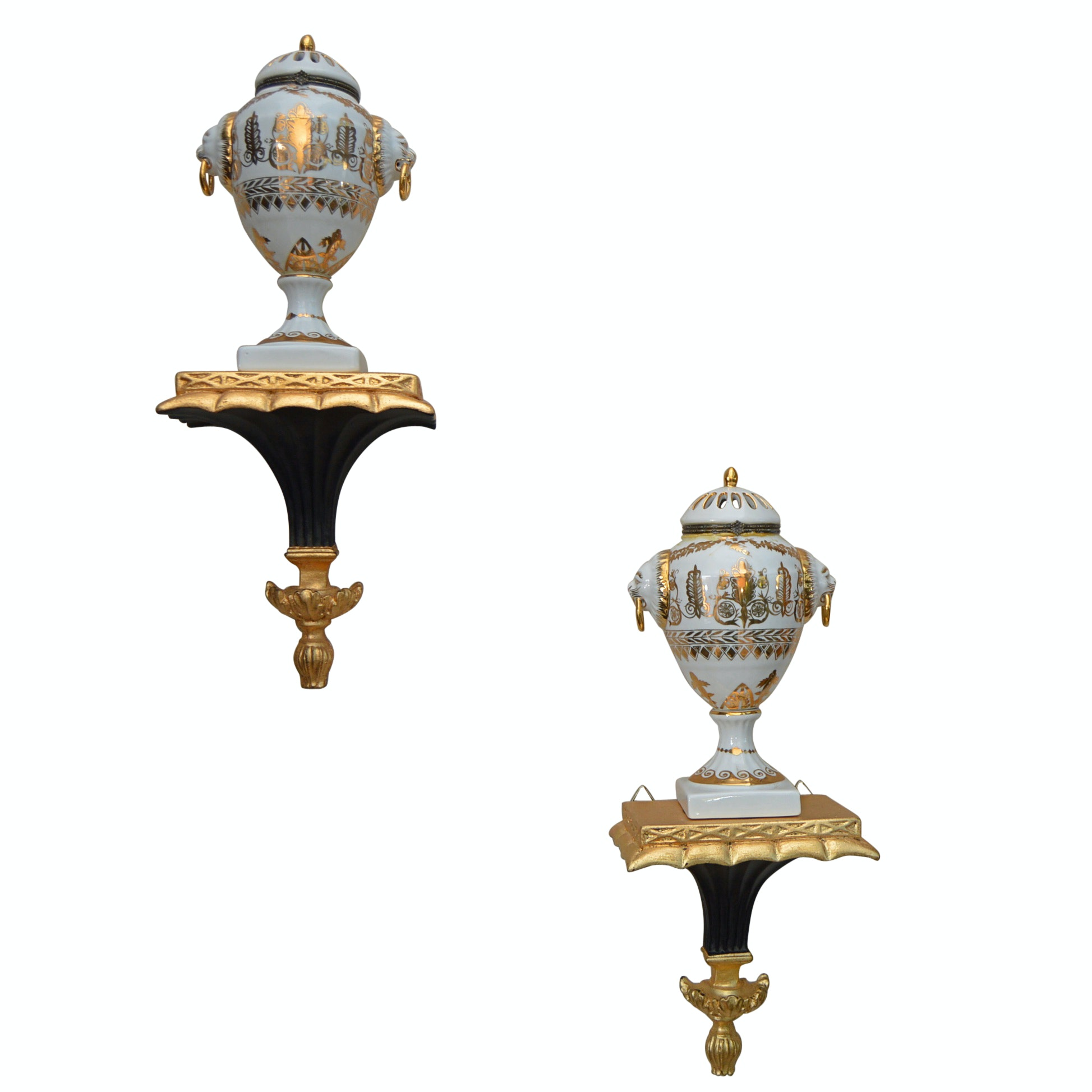 Jean Reed's Porcelain Urns with Black and Gold Neoclassical Corbels