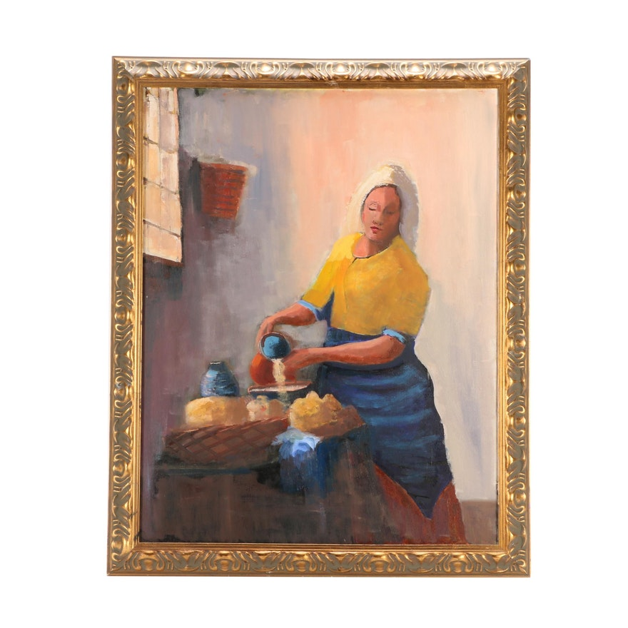 Oil Copy Painting after Johannes Vermeer \