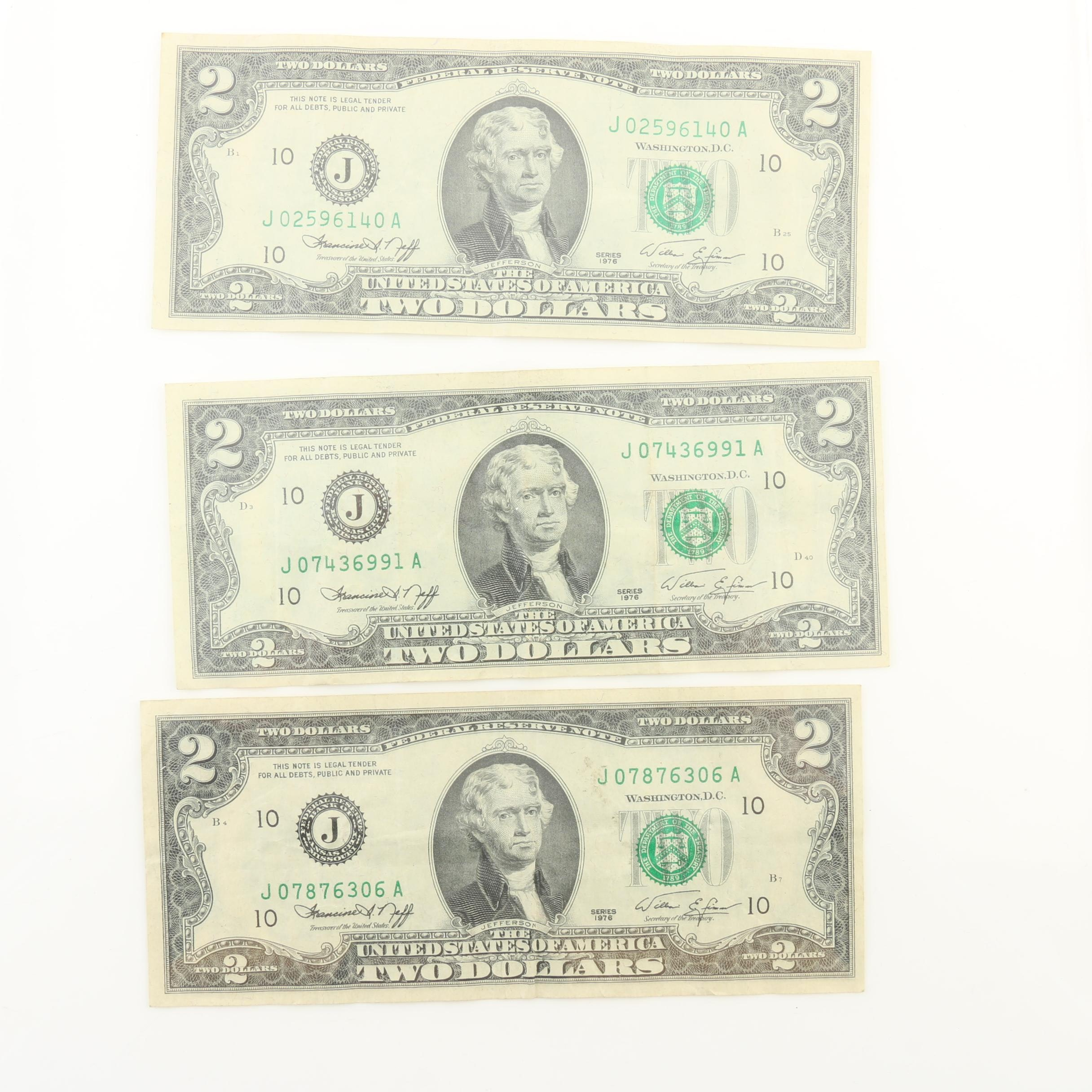 Group of Three 1976 Bicentennial $2 Federal Reserve Notes