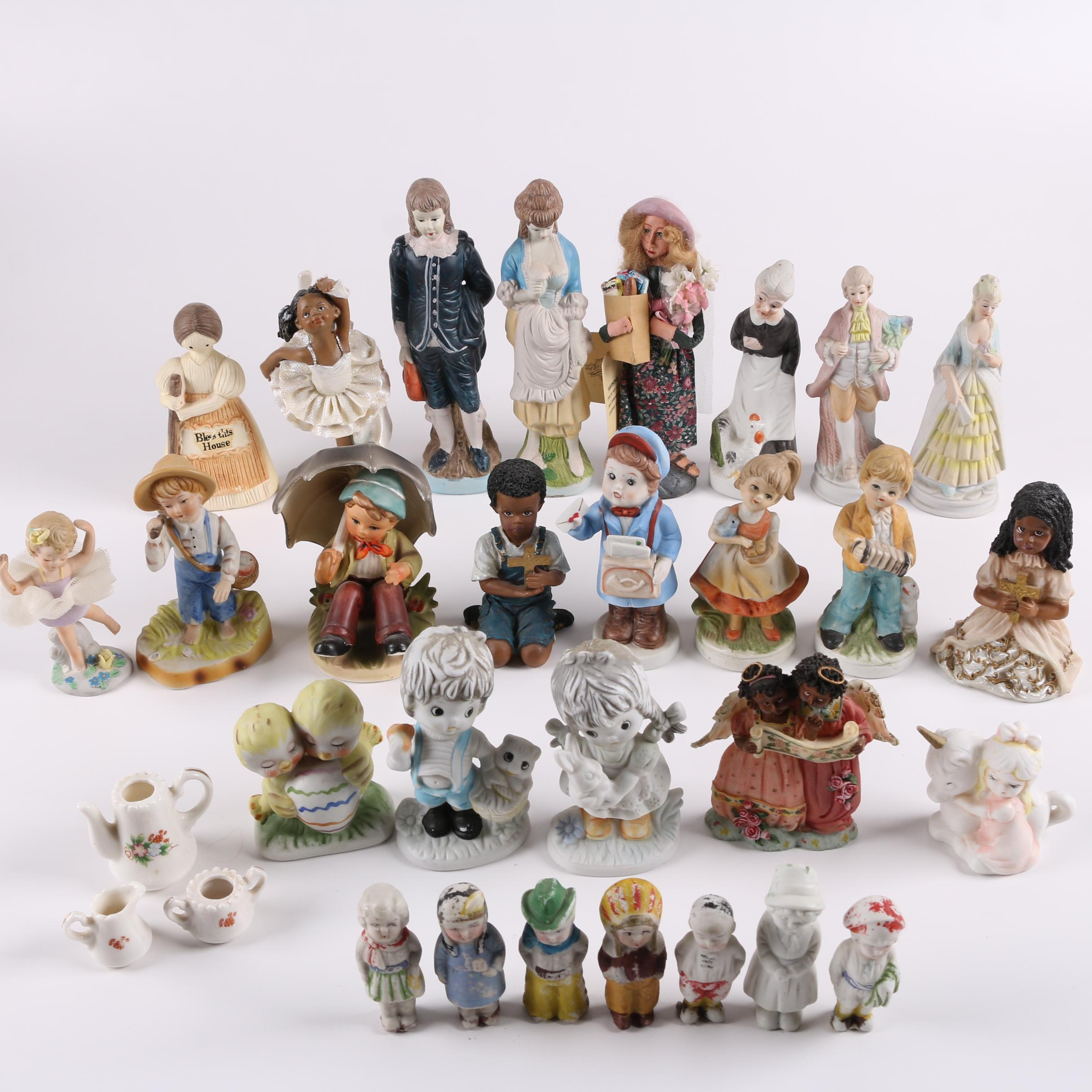 Vintage Japanese Bisque Figurines and Other Ceramic and Resin Figures