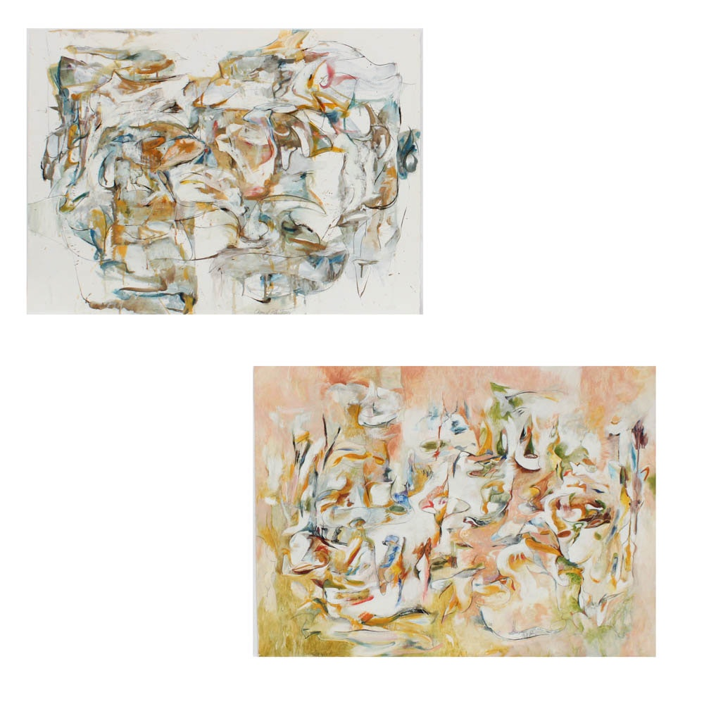 """Donald Roberts 1998 Mixed Media Paintings on Paper Featuring """"Island Project"""""""