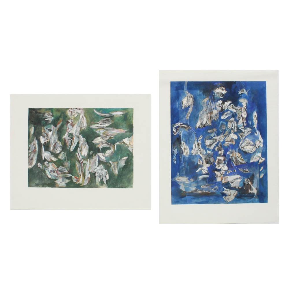 "Donald Roberts 1990's Mixed Media Paintings ""Island Sky..."" and ""Island Sea.."""